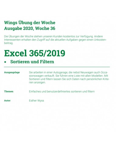 UdW 2036 Excel Sortieren und Filtern