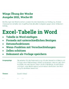 UdW 2105 Excel-Tabelle in Word
